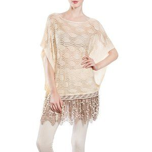 Ryu loose knit poncho style sweater top with lace